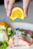 Fish with lemon. Salmon fish with lemon on plate Royalty Free Stock Photography