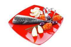 Fish with lemon and caviar Stock Images