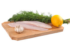 Fish, lemon and fresh dill Stock Photo