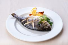 Fish with lemon Stock Photo