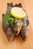 Fish with lemon and parsley on wooden background Royalty Free Stock Images