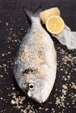 Fish, lemon and sea salt. Stock Photo