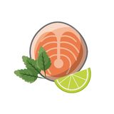 Fish and lemon slice icon. Steak of fish and lemon slice icon over white background. colorful design.  illustration Royalty Free Stock Photography