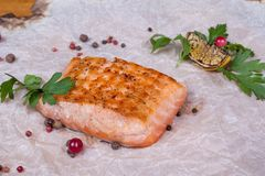 Food on the table. Fish with lemon, and spices on a paper basis Stock Photos