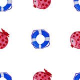 Fish and lifesaver watercolor seamlesaa pattern Stock Photos
