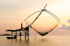 Fish lift net in Phatthalung. Fishing  in Thale Noi, Lake in Phatthalung Stock Photo