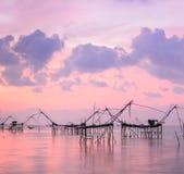 Fish lift nets at sunrise seascape Royalty Free Stock Photography
