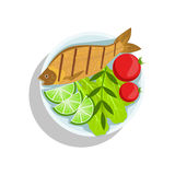 Fish With Lime And Tomatos, Oktoberfest Grill Food Plate Illustration. Beer Festival Classic Bbq Food Isolated Menu Item On White Background Royalty Free Stock Photos