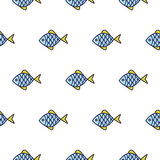Fish line icon seamless vector pattern. Food blue outline tileable white background Stock Image