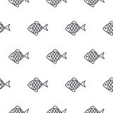 Fish line icon seamless vector pattern. Food outline tileable white monochrome background Royalty Free Stock Photos