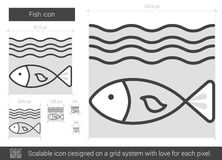 Fish line icon. Fish vector line icon isolated on white background. Fish line icon for infographic, website or app. Scalable icon designed on a grid system Royalty Free Stock Photography