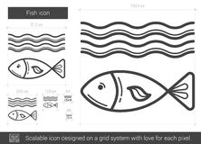 Fish line icon. Fish vector line icon isolated on white background. Fish line icon for infographic, website or app. Scalable icon designed on a grid system Stock Photo