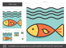 Fish line icon. Fish vector line icon isolated on white background. Fish line icon for infographic, website or app. Scalable icon designed on a grid system Royalty Free Stock Image