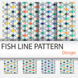 Fish Line Pattern. For interior  - Vector Royalty Free Stock Images