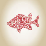 Fish a lip. Fish made of lips. A vector illustration Royalty Free Stock Image