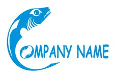 Fish logo. Vector illustration of large-toothed blue fish Stock Image