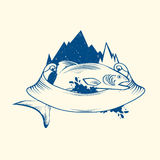 Fish Logo Design. With Mountain and Ribbon, Copyspace Royalty Free Stock Photos