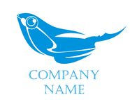Fish logo. Fish element. Blue on the white Stock Photography