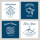Fish logo and emblem for menu Royalty Free Stock Images