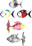 Fish logo. Multicolored funny fish isolated on white background Royalty Free Stock Image