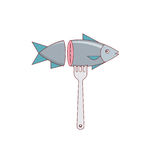 Fish logo. Sea food. Vector illustration Stock Photography