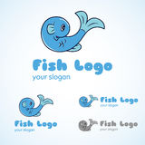 Fish Logo Template. Fish logo in blue body and greyscale mode Royalty Free Stock Photos