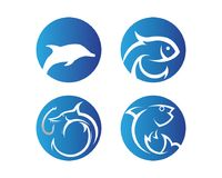 Fish logo template. Creative vector symbol of fishing club or on. Line Royalty Free Stock Photos