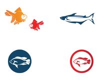 Fish logo template. Creative vector symbol of fishing club or on. Line line Stock Photography
