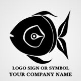 Fish logo template for design. Icon of seafood restaurant. Animals in a natural environment. Illustration of graphic flat style