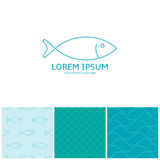 Fish logo template and seamless patterns. Unending texture of fish scales and sea waves in trendy linear style. Vector illustration Royalty Free Stock Photography