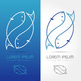 Fish logo. 2 fish, twin fish logo for corporate identities and graphic design, Vector illustration stock illustration