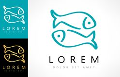 Fish logo vector. With business card template Stock Photo