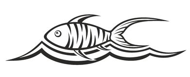 Fish logo with wave. A logo of a small fish with a wave Royalty Free Stock Photos