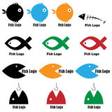 Fish logos. Set of thirteen fish logos isolated on white background. Colors and black/white version.EPS file available Stock Images