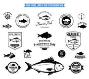 Fish Logos, Labels and Design Elements Royalty Free Stock Image