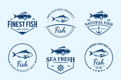 Fish Logos, Labels and Design Elements. Vector fish design elements, label templates, badges, emblems and icons Stock Photography