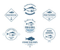 Fish Logos, Labels and Design Elements Royalty Free Stock Photography