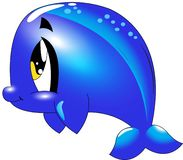 Dolphin - Cute sea life cartoon collection under water animal characters stock illustration