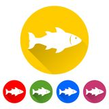 Fish with long shadow set. Vector icon Stock Photo