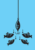 Fish Looking at Fishing Bait with Hooks. Drawing of fishes attracted to fishing bait with hooks under water. Minimalist style vector illustration in black  on Stock Photo