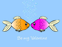 Fish in love. Valentine cartoon of fish in love Royalty Free Stock Images