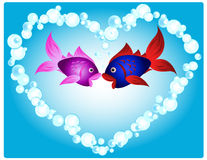Fish love. Couple of cartoon fish in love, kissing in a heart shape made of air bubbles, fun valentine's card or other love related occasion Stock Images