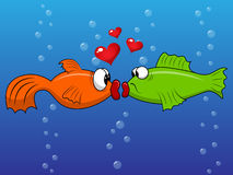 Fish love. Vector picture with kissing fishes Stock Photos