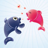 Fish in love. Romantic feelings concept illustration Royalty Free Stock Photo