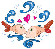 Fish in love. Pair of loving small fishes in water splashes Stock Photography
