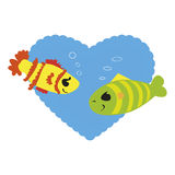 Fish in Love. Two colorful fish in love on blue heart background Royalty Free Stock Photography