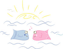 Fish love. Two cute cartoon fishes in love; isolated Stock Images