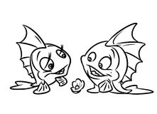 Fish  love confession coloring pages Stock Photos