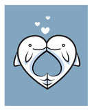 Fish love date two kiss. Logo Stock Image