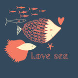 Fish in love. Graphic love with fish on a dark blue background Stock Photos